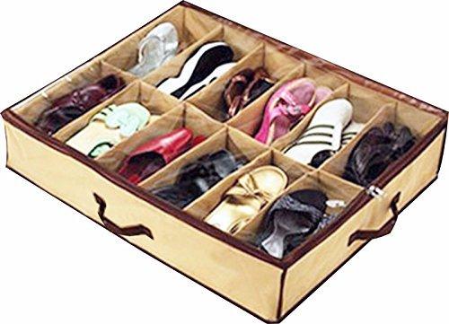 Shoe Box 12 Pocket Under Bed Foldable Shoe Container Storage Organizer Holder