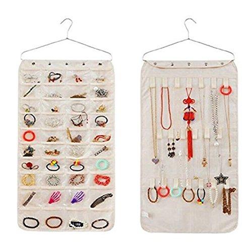 Closet Hanging Jewelry Organizer Bag Holder Pockets 40 Pockets 21 Hook-and-Loop Beige