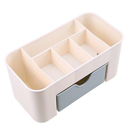 Desktop Drawer Storage Box WCIC Desk Makeup Organizer Tray Plastic Cosmetic Collection Holder Blue
