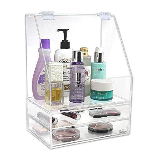 Ikee Design Premium Acrylic Cosmetic Skincare  Jewelry Accessory Organizer Box Storage Case with 2 Drawers
