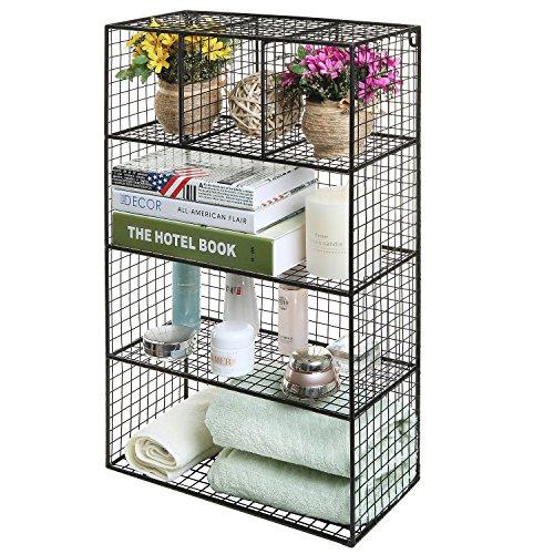 26 inch Black Metal Wire Wall Mounted or Freestanding Kitchen  Bathroom  Bedroom Organizer Shelf Rack