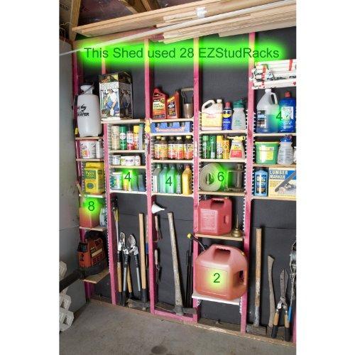 EZStudRack Shelving System for Garages Sheds Pantries Closets and More Includes 16 EZStudRacks 64 Screws