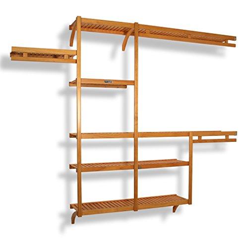 John Louis Home JLH-522 Standard 12-Inch Depth Closet Shelving System Honey Maple