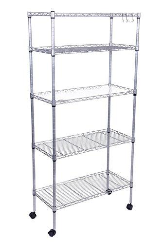 JS Hanger Supreme Wire Shelving Unit on Wheels Adjustable 5 Shelves Silver