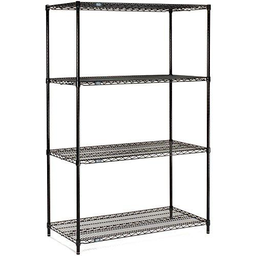 Nexel 4-Shelf  Wire Shelving Unit Black Finish 18W x 24L x 74H