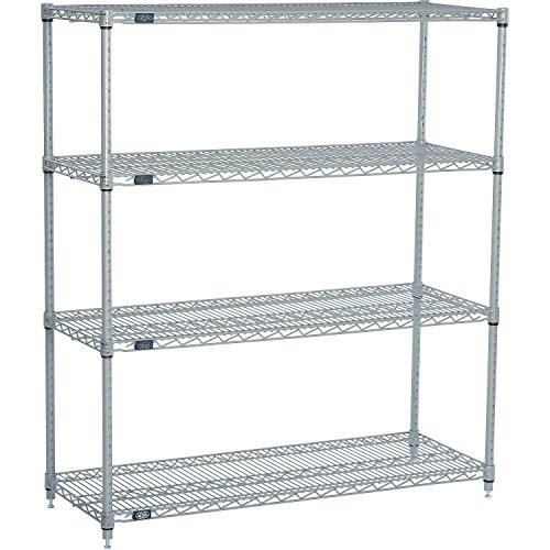 Nexel 4-Shelf  Wire Shelving Unit Silver Finish 24W x 48L x 63H