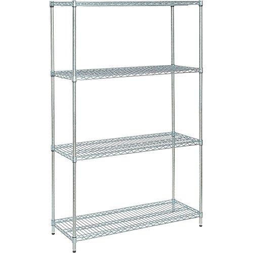 Nexel 798771 4-Shelf Wire Shelving Unit 24 W x 48 L x 74 H Zinc Chromate Finish