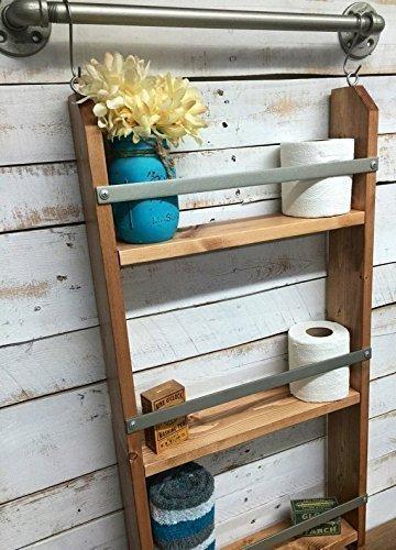 Wood Ladder Shelf- Wooden Wall Shelf rustic bathroom shelf industrial shelf farmhouse shelf cottage chic home décor shelf wpipe towel bar