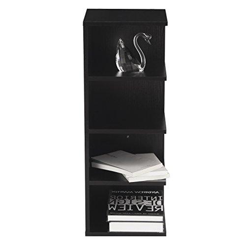 Asense 32 inch 4-Tier Modular Shelving Corner Shelf Narrow Bookcase Home Office Use Black
