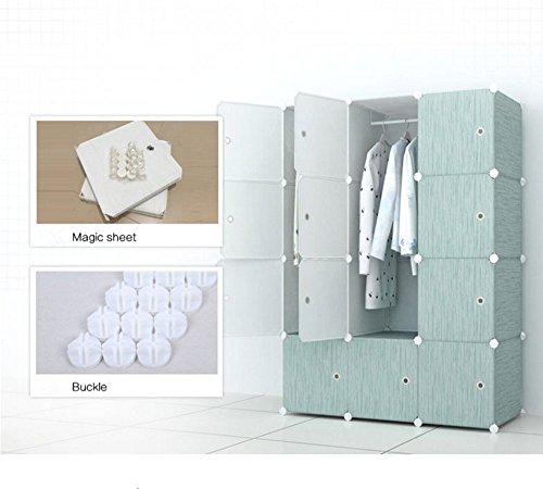 HL 12-Cube DIY Modular Shelving Storage Portable Clothes Closet Muti-use Portable Storage Drawer Wardrobe Organizer SystembookcaseCloset Hanging Rod for Home Decoration