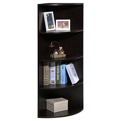LANGRIA 5-Tier Corner Shelf Book Shelf Mutipurpose Freestanding Storage bookcase Modular Shelving Round End Shelves Sturdy MDF Construction Home Office Use 156 x 156 x 472 Black Walnut