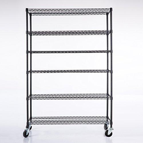 Uenjoy Commercial 6 Layer Shelf Adjustable Steel Wire Metal Shelving Rack 82H x 46L x 18D Black