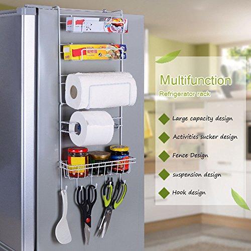 Kangkang 6-Tier Multi-Purpose Metal Kitchen Cabinet Refrigerator Side Rack Door Metal Storage Rack Shelves Organizer with Suction Cups
