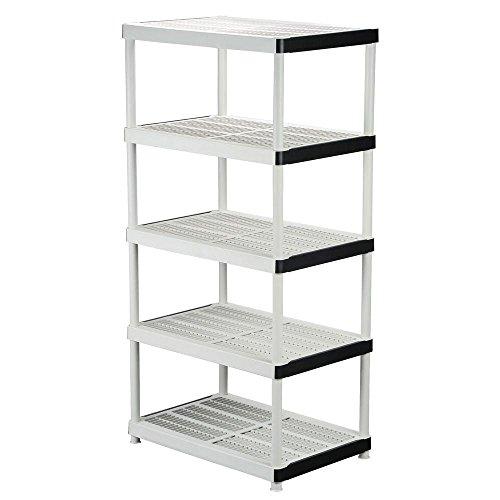 5-shelf Plastic Ventilated Storage Shelving Unit White 36 in W x 72 in H x 24 in D