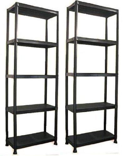 5 Tier Plastic Shelving Units Black Storage Set Of 2 by LIME SHOP
