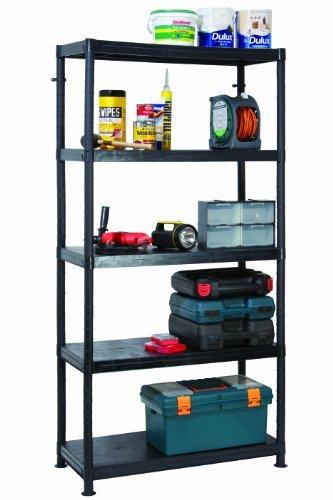 Garland 5 Tier 90cm Wide Heavy Duty Plastic Shelving 90 x 40 x 184cm by Garland Products Ltd