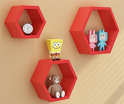 Denshine3pcs a Set Home DIY Decorative Wall Floating Honeycomb Shelves Hexagonal Lattice Cube Storage Box for Living Room or Bedroom Red