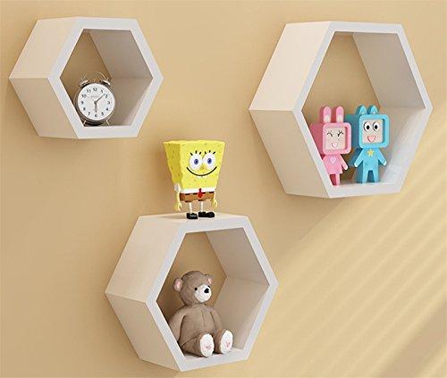 Denshine3pcs a Set Home DIY Decorative Wall Floating Honeycomb Shelves Hexagonal Lattice Cube Storage Box for Living Room or Bedroom White
