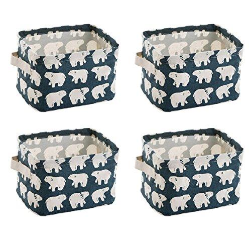 wellhouse 4 Pack Small Polar Bear Non-Woven Storage Box Foldable Organizer Cube Basket Bin Container Box for Clothes Book Socks Polar Bear-4 Pack