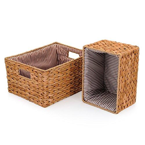 DOKOT Rectangular Wicker Nesting Hand-Woven Home Storage Baskets Seagrass Organizer Set of 2 Yellow