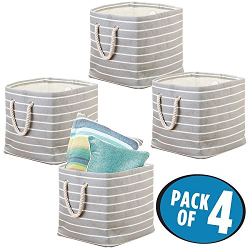 mDesign Home Storage Basket or Bin Collapsible Convenient Storage Solution for Office Bedroom Closet Toys Laundry Pillows Blankets Linens Clothing - Pack of 4 GrayCream