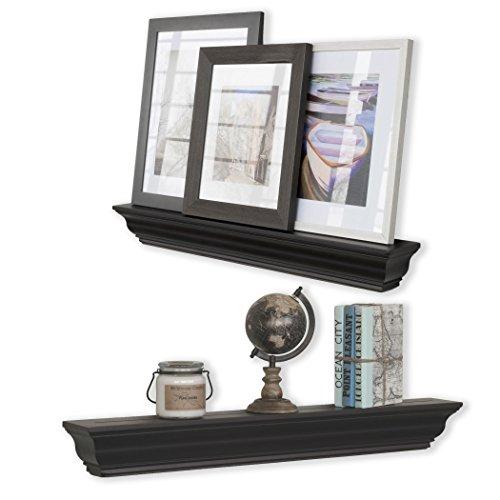 Crown Molding Floating Wall Shelf Decorative Picture Art Photo Mantel Ledge Black Color 36 Inch Long Set of 2