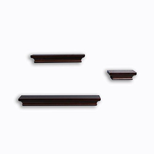 Decorative Wall Shelf Set Espresso Brown Finish of 3 pcs