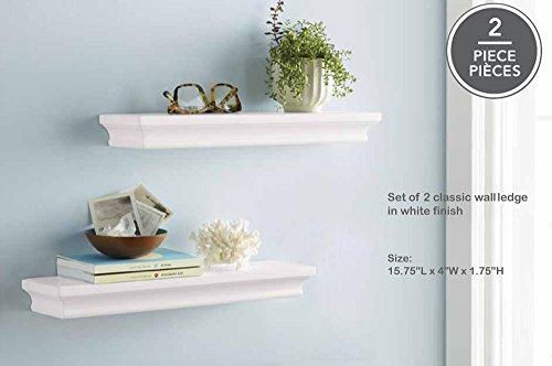 Decorative Wall Shelf Set White Finish Of 2 pcs