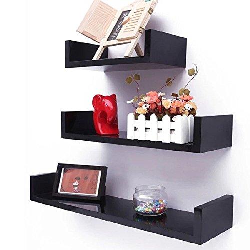 Viment Set of 3 Modern Home U Shape Floating Display Wall Shelves Decorative Wall ShelfBlack