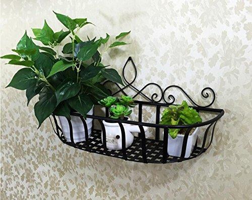 ZZ Wrought ironwall shelf decorative wall hanging basketsbasketbalconyshelfpot rack not including flowers and flower pots  black