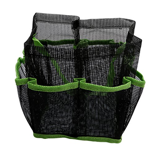 Myhouse Green Mesh Shower Caddy Shower Tote Bag with 8 Storage Compartments for Bathroom