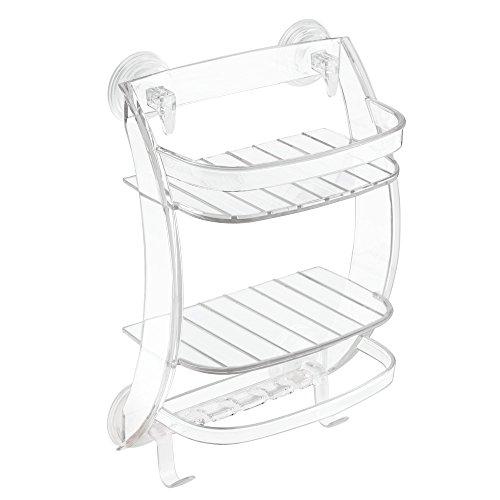 InterDesign Power Lock Suction Bathroom Shower Caddy Organizer for Shampoo Conditioner Soap - Clear