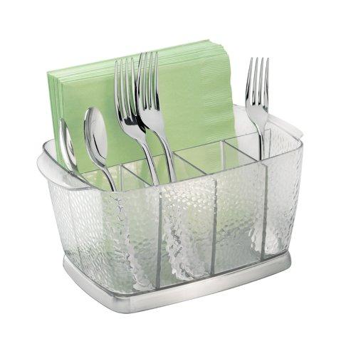InterDesign Rain Silverware Flatware Caddy Organizer for Kitchen Countertop Storage Dining Table - Clear