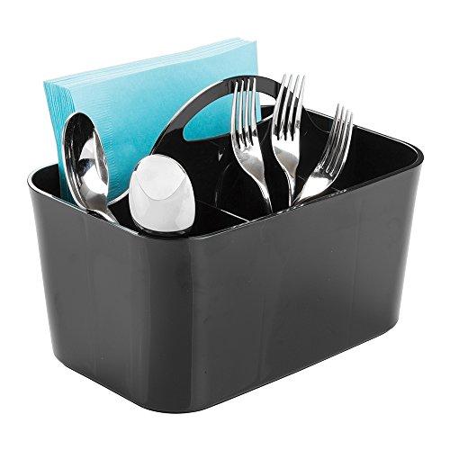 mDesign Silverware Flatware Caddy Organizer for Kitchen Countertop Storage Dining Table - Black