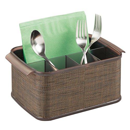 mDesign Silverware Flatware Caddy Organizer for Kitchen Countertop Storage Dining Table - BronzeSand