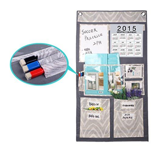 BXT Creative Multi Pockets Over The DoorWallCloset Hanging Storage Organizer Tidy Rack Bag with Monthly Calender Memo Board CD Magazine Mail Holder Home OrganizerFree 2 Hooks3 Erase Marker Pens