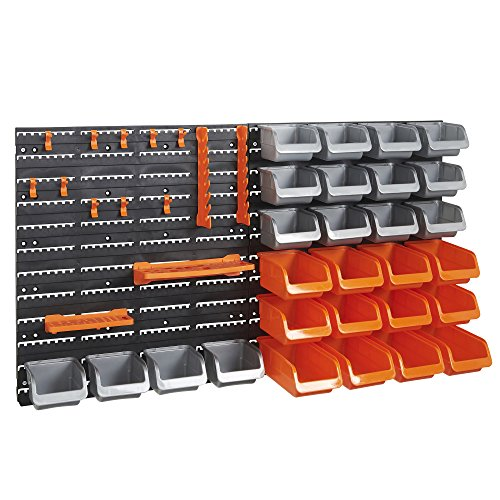 VonHaus 44 Piece Wall Mounted Pegboard Hook Storage Bins and Panel Set - DIY Garage Storage Wall Mount System with Rack and Bin Accessories - Tool Parts and Craft Organizer