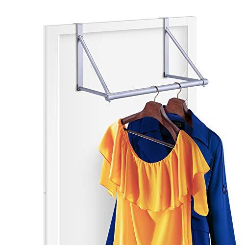 Simple Trending Over The Door Closet Rod Hanger with Door Hook Clothes Garment Organizer Rack for Hanging Clothes Metal Silver