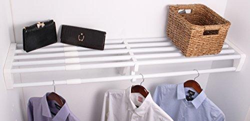 EZ SHELF - 28 - 48 Expandable Closet Shelf Rod - White - No Brackets- For Mounting to Two Sidewalls