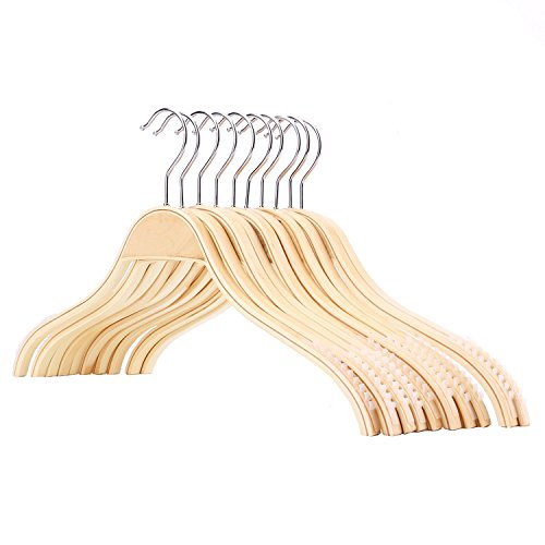 Tosnail Wooden Clothes Hangers with Non-slip Stripes - 10 Pack
