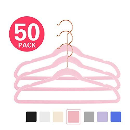 MIZGI Premium Kids Velvet Hangers Pack of 50 14 Wide with CopperRose Gold HooksSpace Saving UltrathinNonslip Hangers use for Petite Junior Childrens Skirt Dress PantsClothes Hangers-Pink