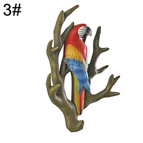 Yamalans 3D Parrot Clothes Wall Mount Coat Hook for Coat Towels Bags Door Hanger Rack for Bedroom Hallway Kitchen Decorative Home Storage 3
