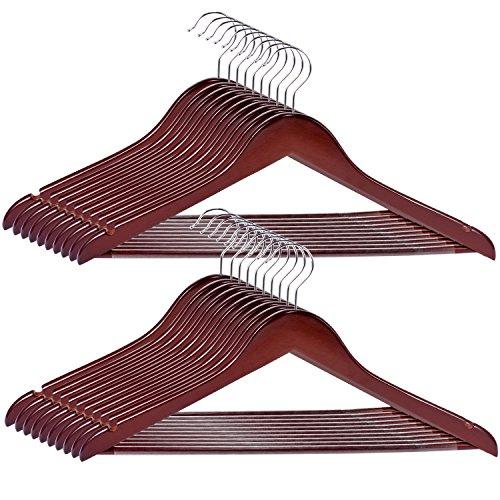 20-Pack Solid Wooden Hanger Royalhanger Non-Slip Wood Suit Hangers for Heavy Coat Dress and JacketWalnut Finish