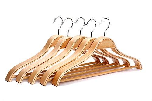 JS Hanger Heavy Duty Solid Wide Shoulder Wooden Suit Hangers Natural Finish 5-Pack