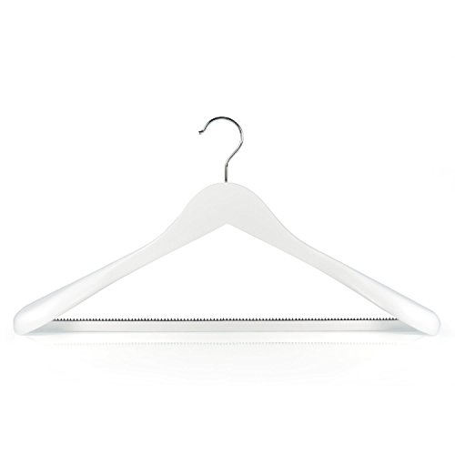 Hangerworld Superior Solid White Wooden Clothes Hangers with Inlaid Pants Bar - Broad Ended 177 Inches Pack of 5