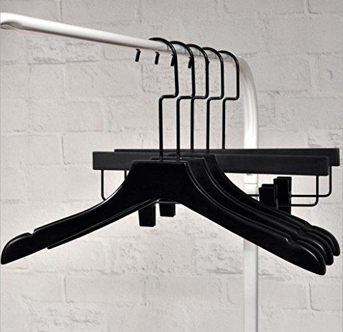 GFYWZ Retro Sub surface light Solid wood Hangers Sturdy Non-slip Durable Clothing store Adult Ms Black Clothes Hanger Pants rack  hangers  E
