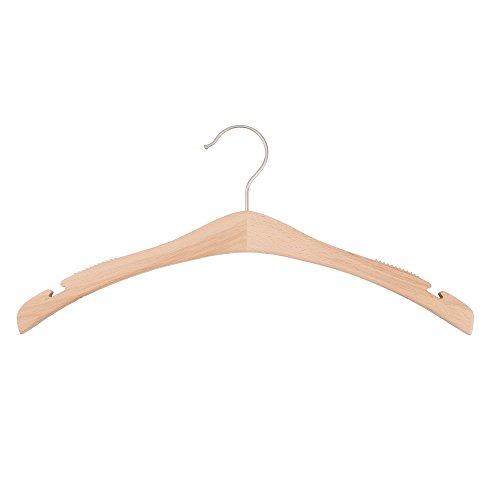NAHANCO 30617HU Wooden Shirt Hangers -Signature Series - Low Gloss Beech - Home Use Pack of 25