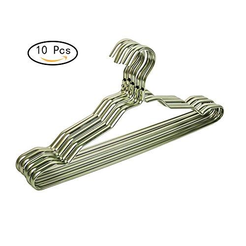 Frjjthchy 10 Pack Aluminium Alloy Strong Heavy Duty Non-slip Antirust Clothes Hangers Champagne