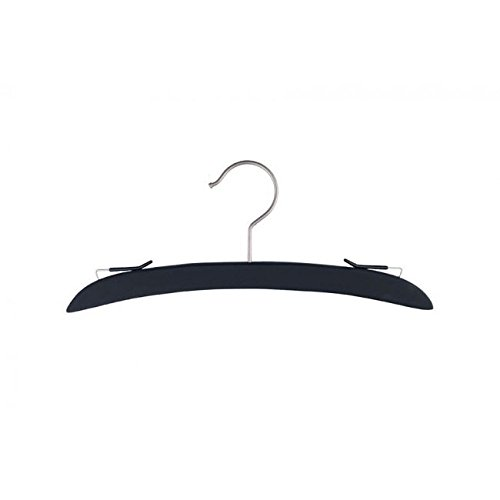 NAHANCO NH12BR Wooden Intimate Apparel Hanger with Brushed Chrome Hardware in Black Rubber Finish No bar