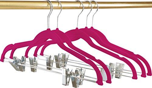 Premium Velvet Hangers Pack of 12 Heavy Duty - Non Slip - Velvet Suit Hangers with Clips For Pants or Skirt Hanger- by Utopia Home Pink